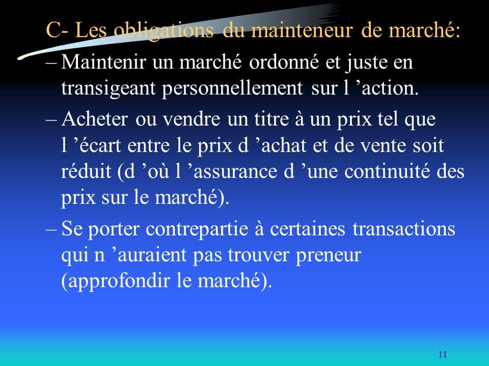 11 C- Les obligations du mainteneur de marché: –Maintenir un marché ordonné et juste en transigeant personnellement sur l action. –Acheter ou vendre u