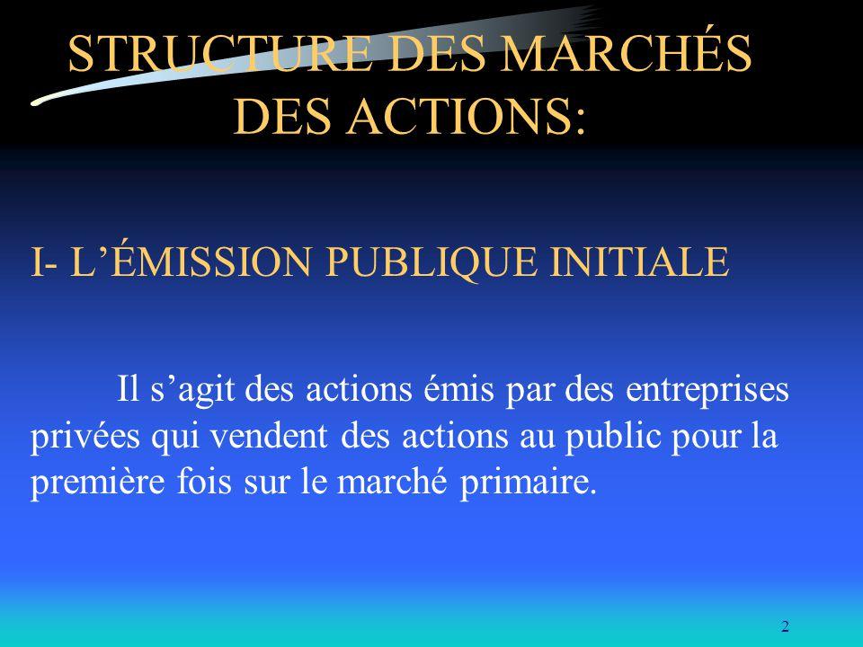 2 STRUCTURE DES MARCHÉS DES ACTIONS: I- LÉMISSION PUBLIQUE INITIALE Il sagit des actions émis par des entreprises privées qui vendent des actions au p