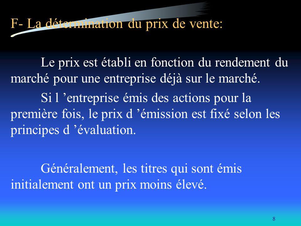 8 F- La détermination du prix de vente: Le prix est établi en fonction du rendement du marché pour une entreprise déjà sur le marché. Si l entreprise