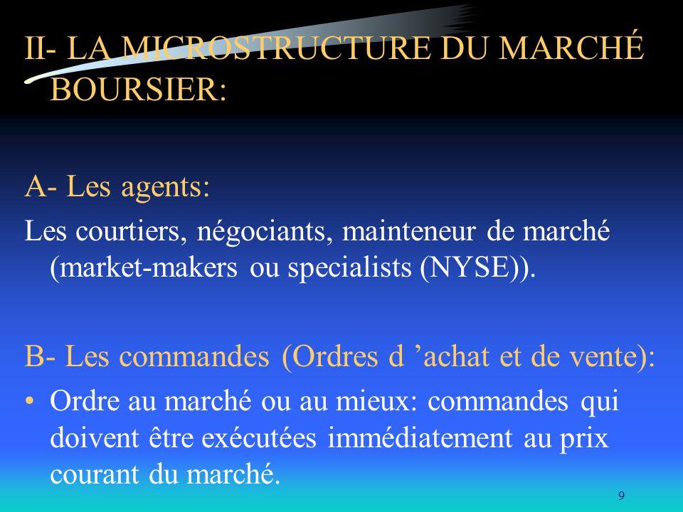9 II- LA MICROSTRUCTURE DU MARCHÉ BOURSIER: A- Les agents: Les courtiers, négociants, mainteneur de marché (market-makers ou specialists (NYSE)). B- L