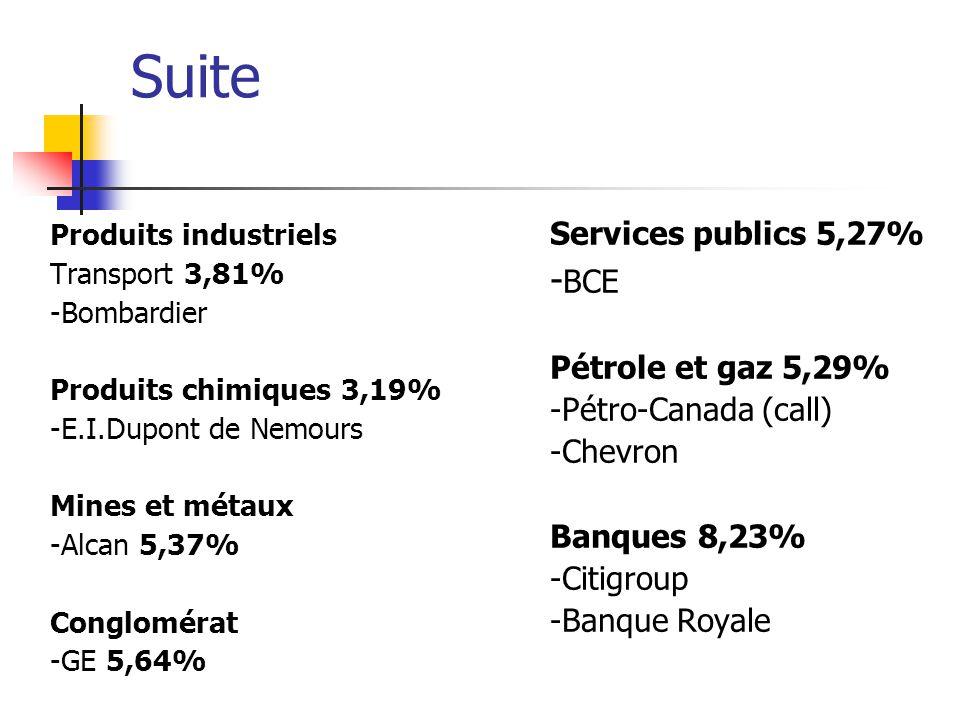 Suite Produits industriels Transport 3,81% -Bombardier Produits chimiques 3,19% -E.I.Dupont de Nemours Mines et métaux -Alcan 5,37% Conglomérat -GE 5,
