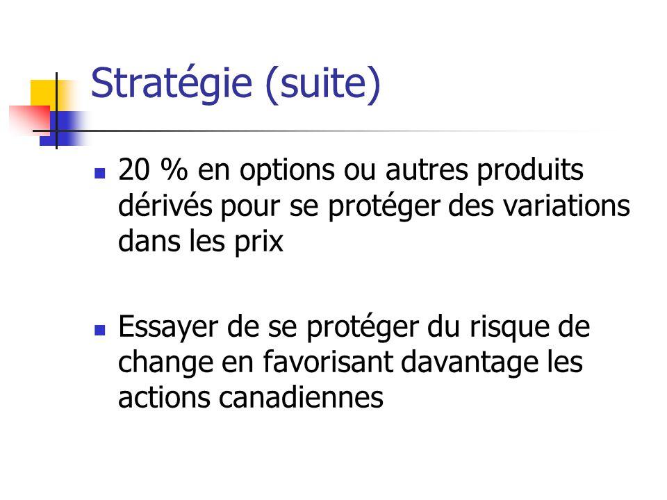 Stratégie (suite) 20 % en options ou autres produits dérivés pour se protéger des variations dans les prix Essayer de se protéger du risque de change