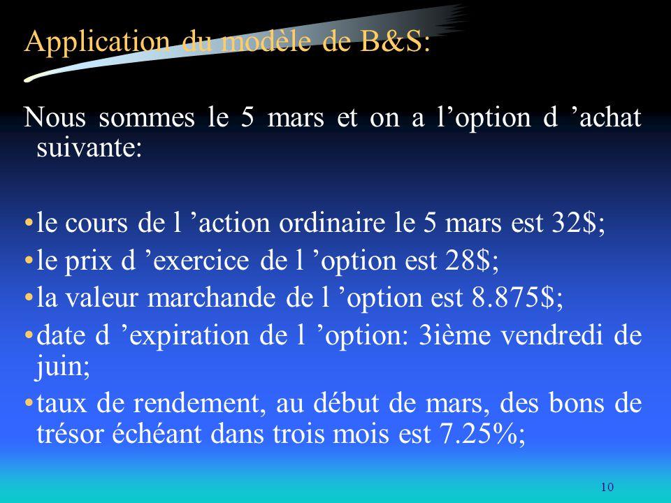 10 Application du modèle de B&S: Nous sommes le 5 mars et on a loption d achat suivante: le cours de l action ordinaire le 5 mars est 32$; le prix d e