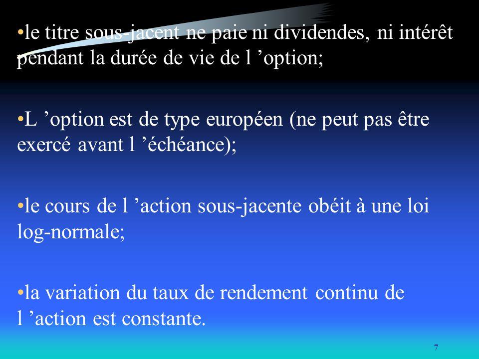 8 B- Extension du modèle de B&S pour évaluer un put européen: La relation de parité Put-Call: C - P = S 0 - X/(1+rf) T Temps discet C - P = S 0 - X e -rT Temps continu P = C - S 0 + X e -rT C = S 0 N(d 1 ) - X e -rT N(d 2 )