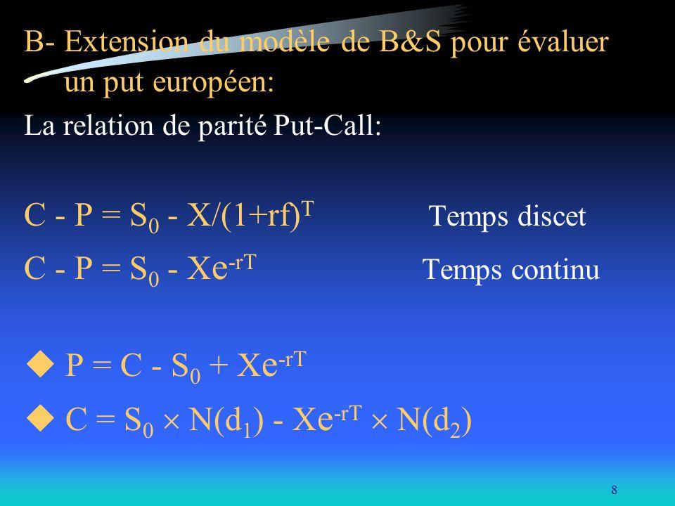 9 d où: P = S 0 N(d 1 ) - X e -rT N(d 2 ) - S 0 + X e -rT P = X e -rT [1-N(d 2 )] - S 0 [1-N(d 1 )] Donc, la valeur d un put européen est égale à: P = X e -rT N(-d 2 ) - S 0 N(-d 1 ) sachant que: N(-x) = 1- N(x).