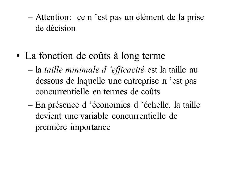 –Attention: ce n est pas un élément de la prise de décision La fonction de coûts à long terme –la taille minimale d efficacité est la taille au dessous de laquelle une entreprise n est pas concurrentielle en termes de coûts –En présence d économies d échelle, la taille devient une variable concurrentielle de première importance