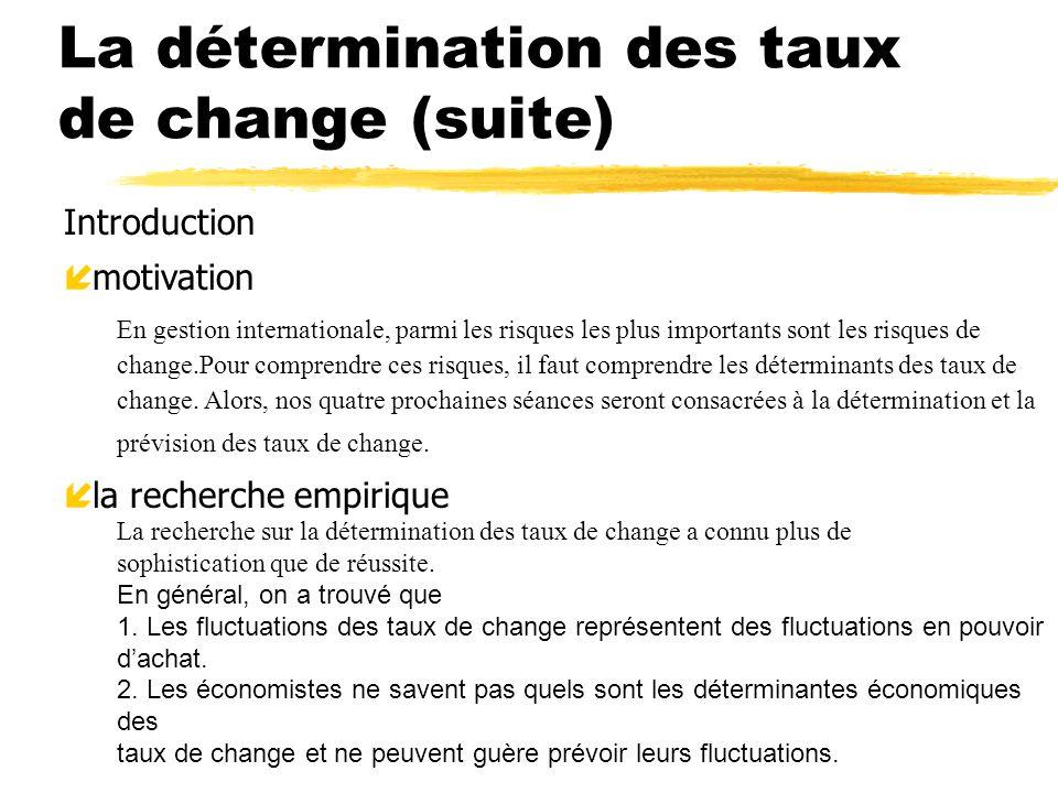 La détermination des taux de change (suite) Introduction í motivation En gestion internationale, parmi les risques les plus importants sont les risque