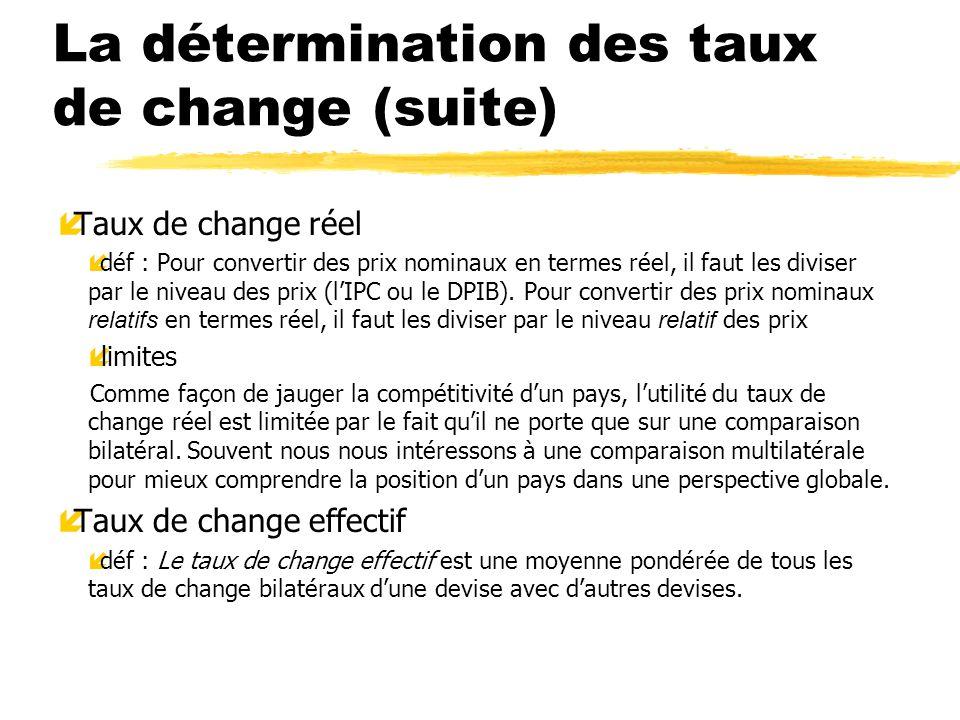 La détermination des taux de change (suite) íTaux de change réel déf : Pour convertir des prix nominaux en termes réel, il faut les diviser par le niv
