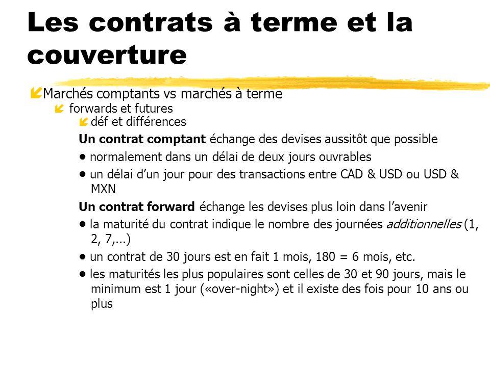 Les contrats à terme et la couverture í Marchés comptants vs marchés à terme íforwards et futures ídéf et différences Un contrat comptant échange des