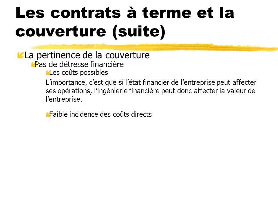 Les contrats à terme et la couverture (suite) í La pertinence de la couverture íPas de détresse financière íLes coûts possibles Limportance, cest que