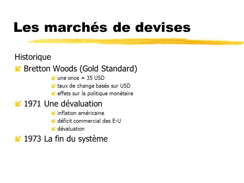 Les marchés de devises Historique íBretton Woods (Gold Standard) íune once = 35 USD ítaux de change basés sur USD íeffets sur la politique monétaire í