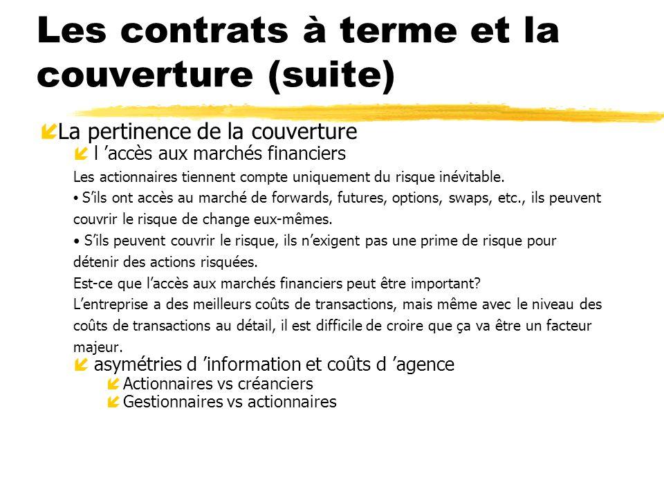 Les contrats à terme et la couverture (suite) í La pertinence de la couverture íl accès aux marchés financiers Les actionnaires tiennent compte unique