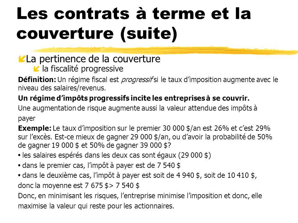 Les contrats à terme et la couverture (suite) í La pertinence de la couverture íla fiscalité progressive Définition: Un régime fiscal est progressif s