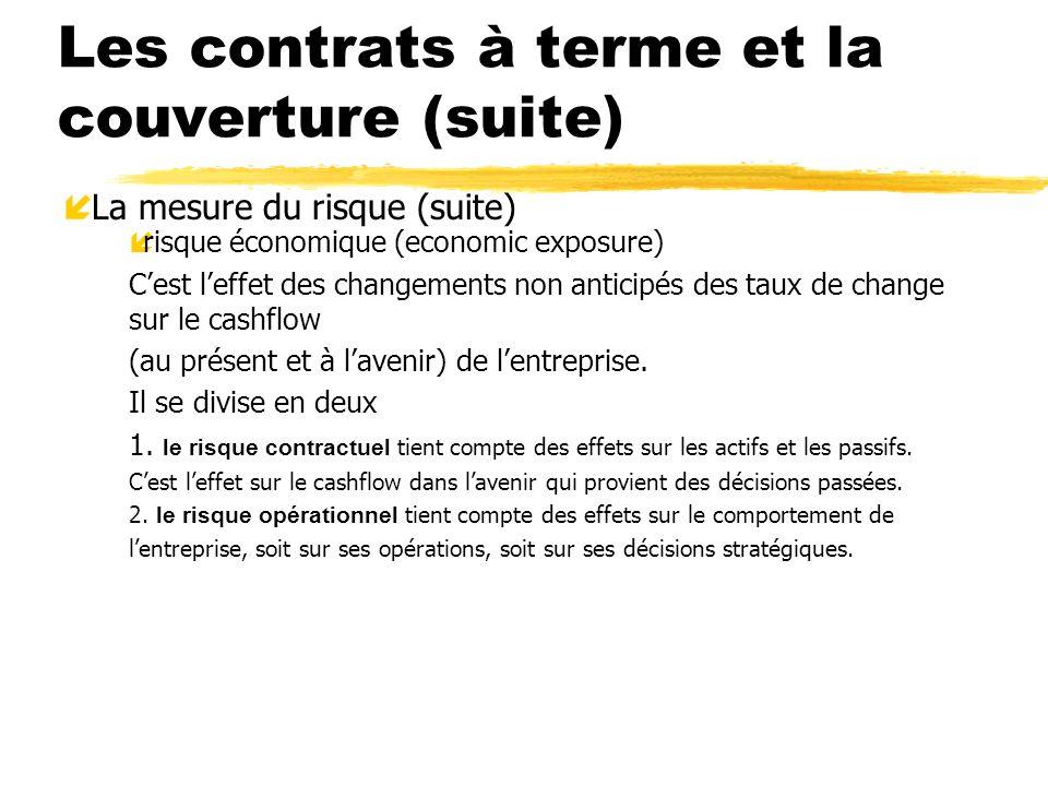 Les contrats à terme et la couverture (suite) í La mesure du risque (suite) írisque économique (economic exposure) Cest leffet des changements non ant