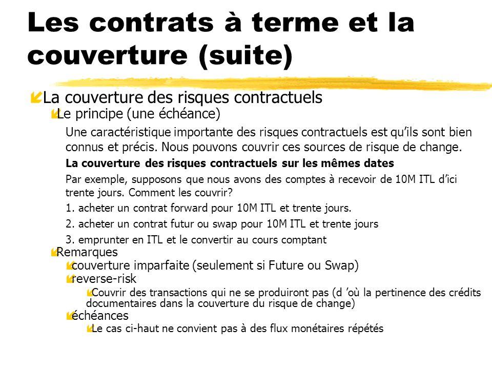 Les contrats à terme et la couverture (suite) í La couverture des risques contractuels íLe principe (une échéance) Une caractéristique importante des