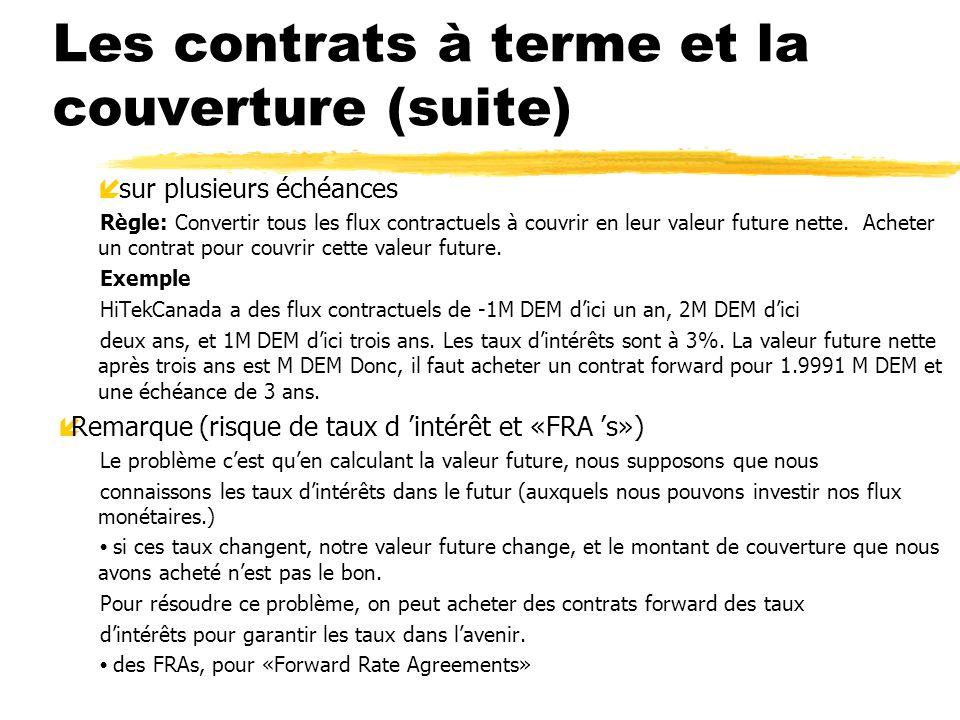 Les contrats à terme et la couverture (suite) í sur plusieurs échéances Règle: Convertir tous les flux contractuels à couvrir en leur valeur future ne