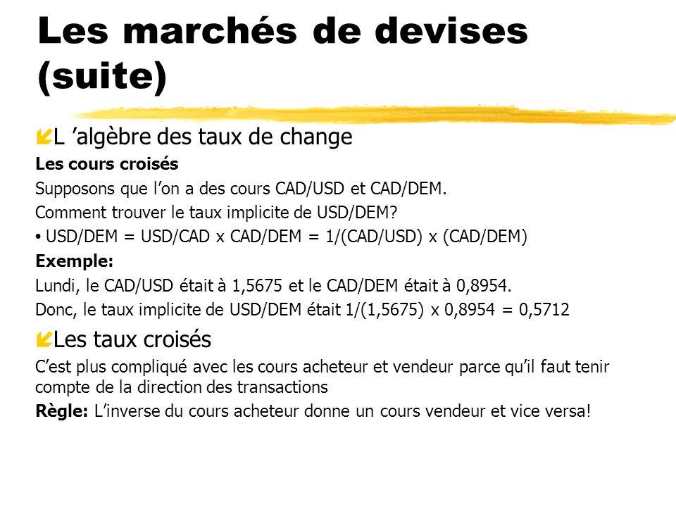 Les marchés de devises (suite) í L algèbre des taux de change Les cours croisés Supposons que lon a des cours CAD/USD et CAD/DEM. Comment trouver le t