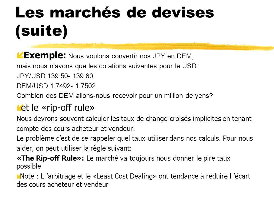 Les marchés de devises (suite) Exemple: Nous voulons convertir nos JPY en DEM, mais nous navons que les cotations suivantes pour le USD: JPY/USD 139.5