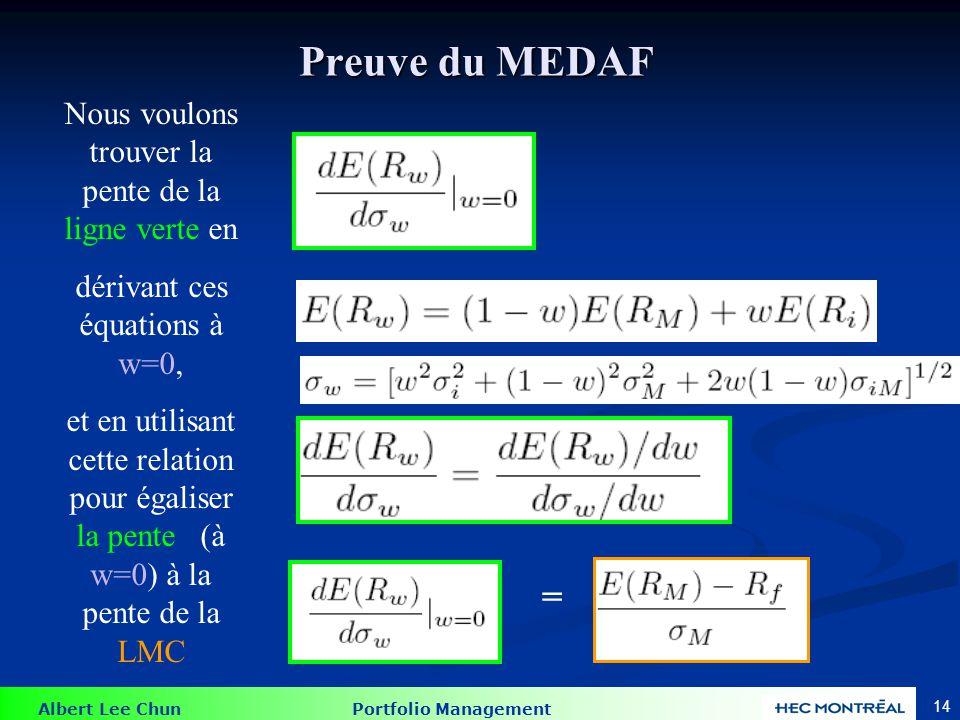 Albert Lee Chun Portfolio Management 13 Pourquoi le MEDAF fonctionne-t-il ? Actif i Nous pouvons aussi exprimer la pente de la ligne verte: = La pente