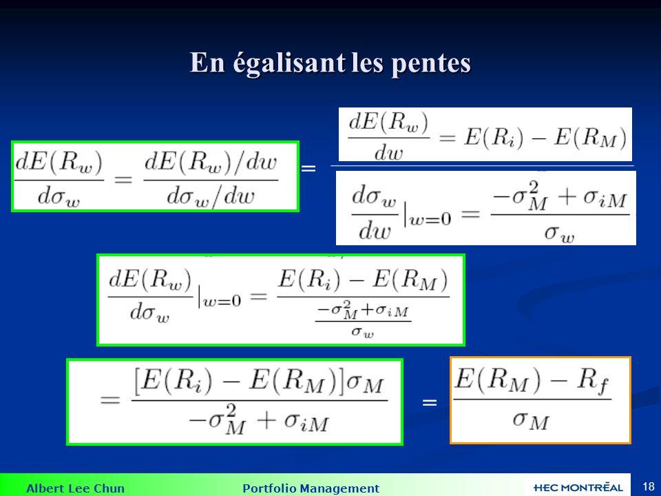 Albert Lee Chun Portfolio Management 17 Prenons quelques dérivées : La dérivée de lécart type par rapport à w Évaluer la dérivée à w = 0, ce qui repré