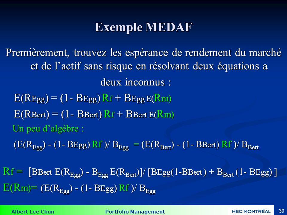 Albert Lee Chun Portfolio Management Exemple MEDAF Nous savons que les deux actifs efficients ont : E(R Egg ) = r f + B Egg (E(R m) - R f ) E(R Bert )