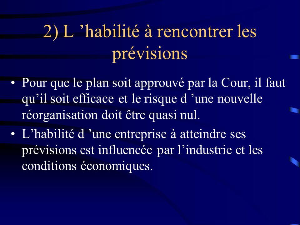 2) L habilité à rencontrer les prévisions Pour que le plan soit approuvé par la Cour, il faut quil soit efficace et le risque d une nouvelle réorganisation doit être quasi nul.