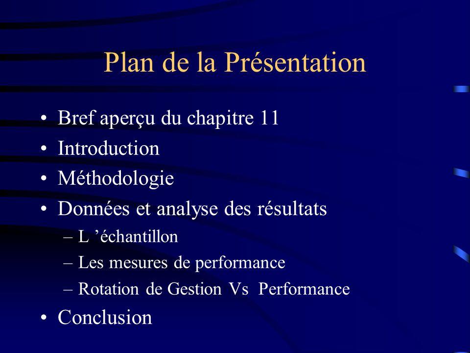 Plan de la Présentation Bref aperçu du chapitre 11 Introduction Méthodologie Données et analyse des résultats –L échantillon –Les mesures de performance –Rotation de Gestion Vs Performance Conclusion