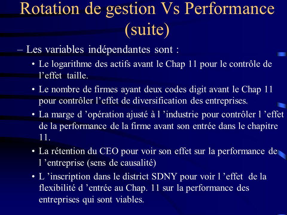 –Les variables indépendantes sont : Le logarithme des actifs avant le Chap 11 pour le contrôle de leffet taille. Le nombre de firmes ayant deux codes