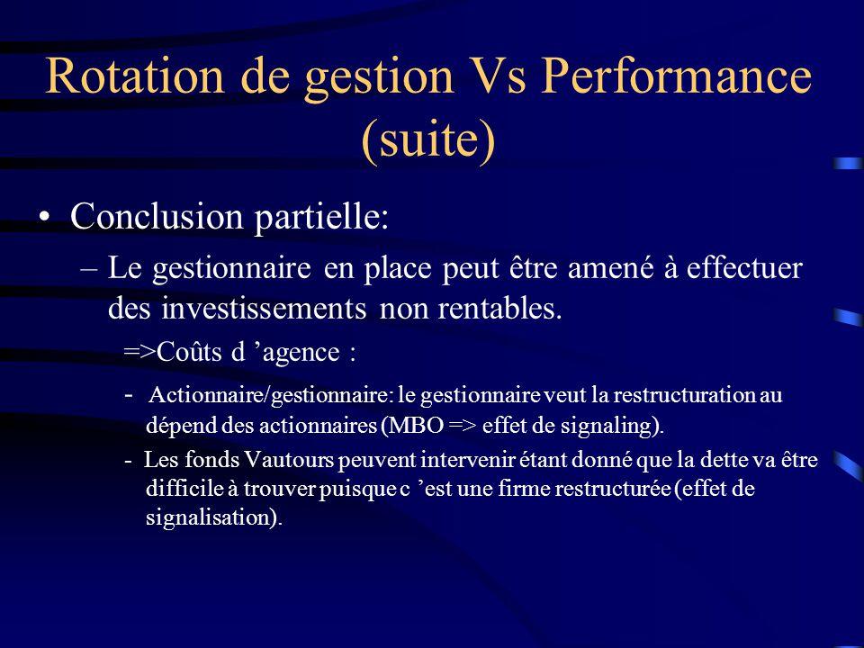 Conclusion partielle: –Le gestionnaire en place peut être amené à effectuer des investissements non rentables. =>Coûts d agence : - Actionnaire/gestio