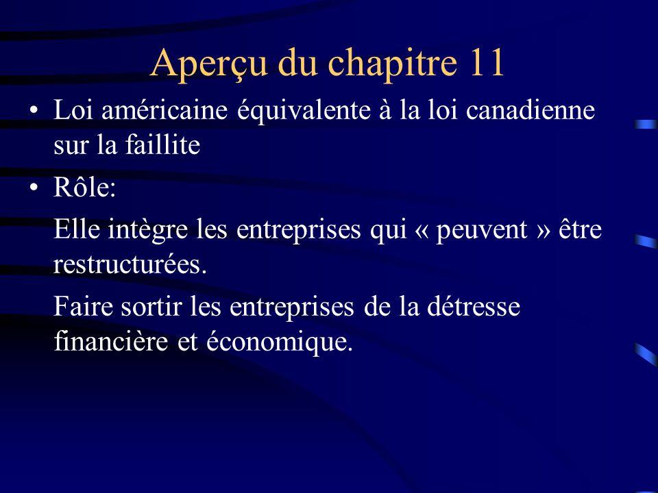 Aperçu du chapitre 11 Loi américaine équivalente à la loi canadienne sur la faillite Rôle: Elle intègre les entreprises qui « peuvent » être restructurées.
