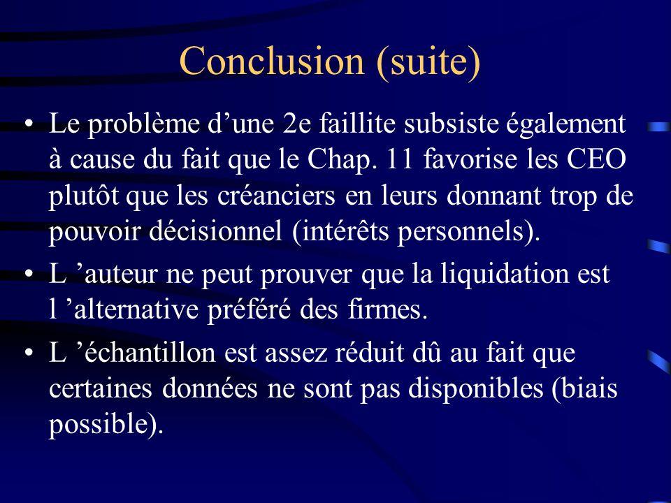 Conclusion (suite) Le problème dune 2e faillite subsiste également à cause du fait que le Chap. 11 favorise les CEO plutôt que les créanciers en leurs
