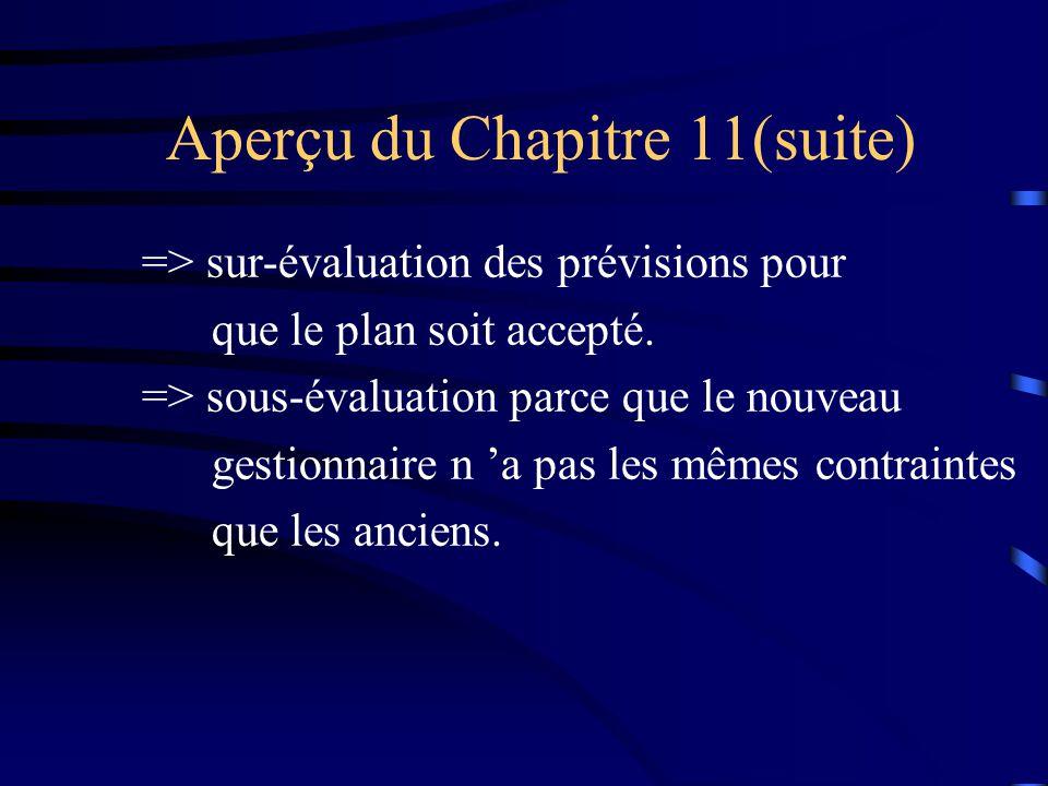 => sur-évaluation des prévisions pour que le plan soit accepté. => sous-évaluation parce que le nouveau gestionnaire n a pas les mêmes contraintes que