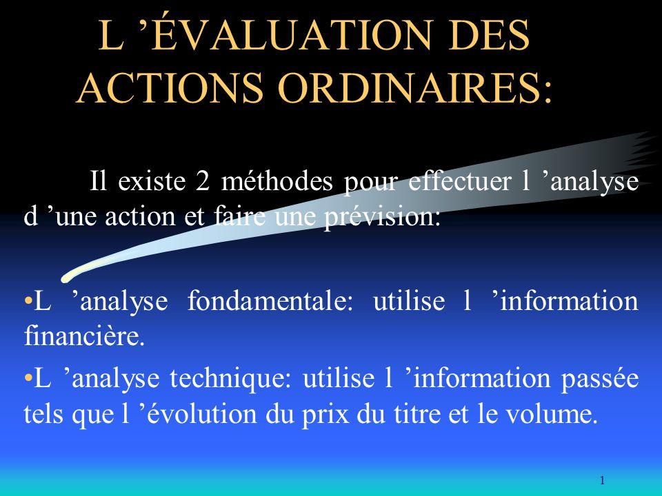 1 L ÉVALUATION DES ACTIONS ORDINAIRES: Il existe 2 méthodes pour effectuer l analyse d une action et faire une prévision: L analyse fondamentale: util