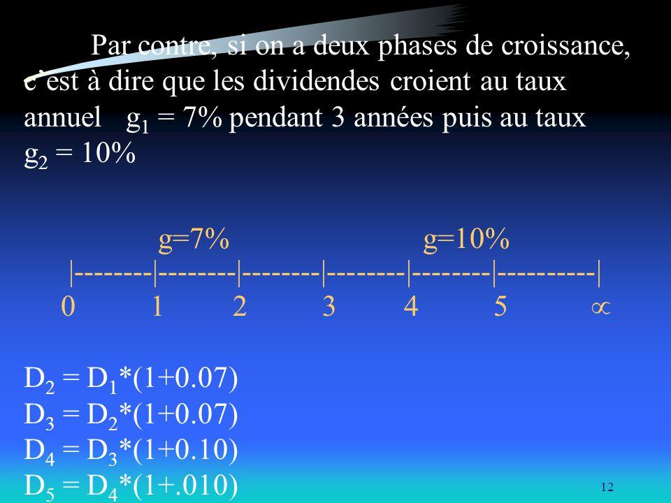 12 Par contre, si on a deux phases de croissance, cest à dire que les dividendes croient au taux annuel g 1 = 7% pendant 3 années puis au taux g 2 = 1