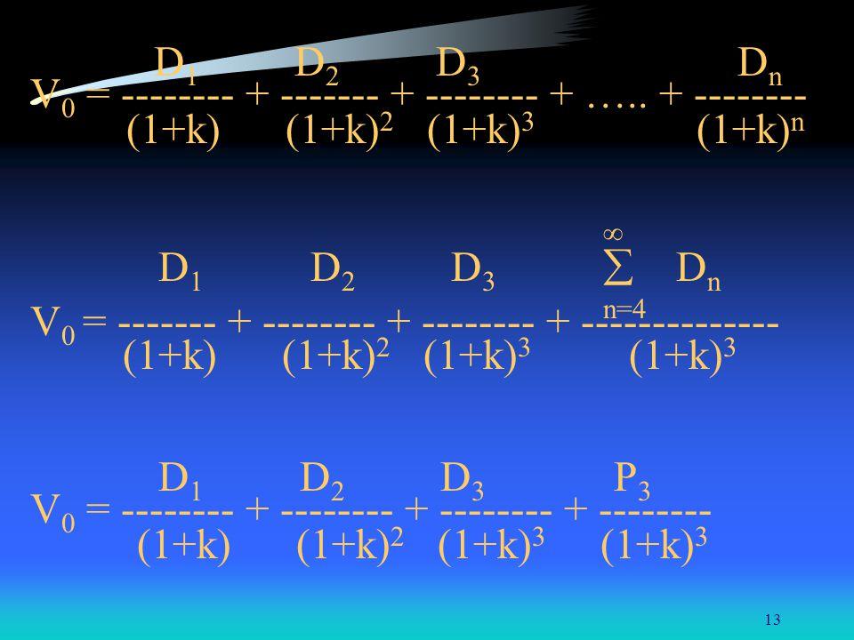 13 D 1 D 2 D 3 D n V 0 = -------- + ------- + -------- + ….. + -------- (1+k) (1+k) 2 (1+k) 3 (1+k) n D 1 D 2 D 3 D n n=4 V 0 = ------- + -------- + -