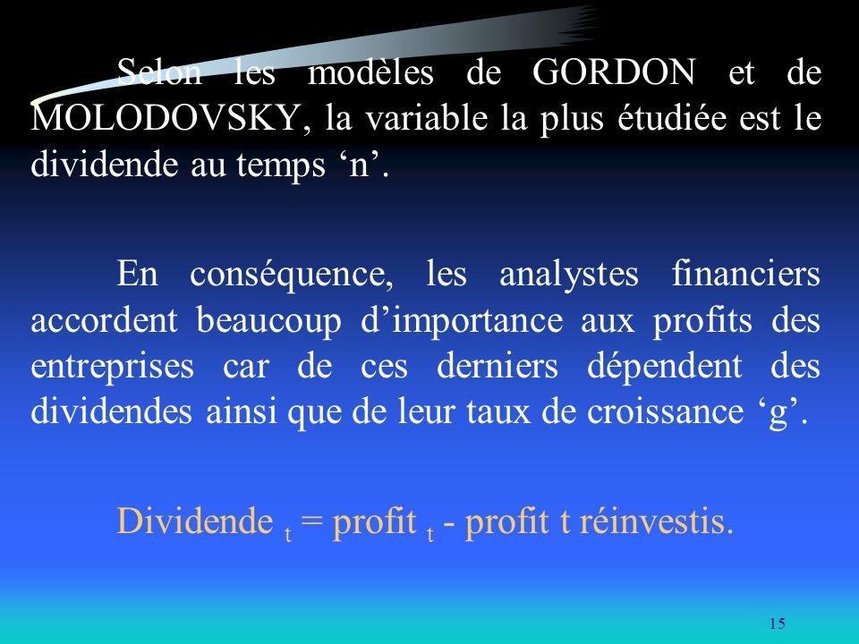 15 Selon les modèles de GORDON et de MOLODOVSKY, la variable la plus étudiée est le dividende au temps n. En conséquence, les analystes financiers acc