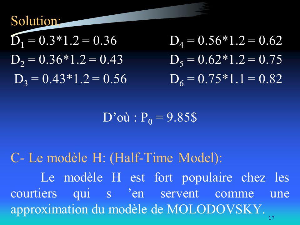 17 Solution: D 1 = 0.3*1.2 = 0.36 D 4 = 0.56*1.2 = 0.62 D 2 = 0.36*1.2 = 0.43 D 5 = 0.62*1.2 = 0.75 D 3 = 0.43*1.2 = 0.56 D 6 = 0.75*1.1 = 0.82 Doù :