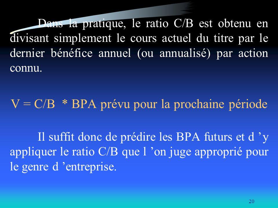 20 Dans la pratique, le ratio C/B est obtenu en divisant simplement le cours actuel du titre par le dernier bénéfice annuel (ou annualisé) par action