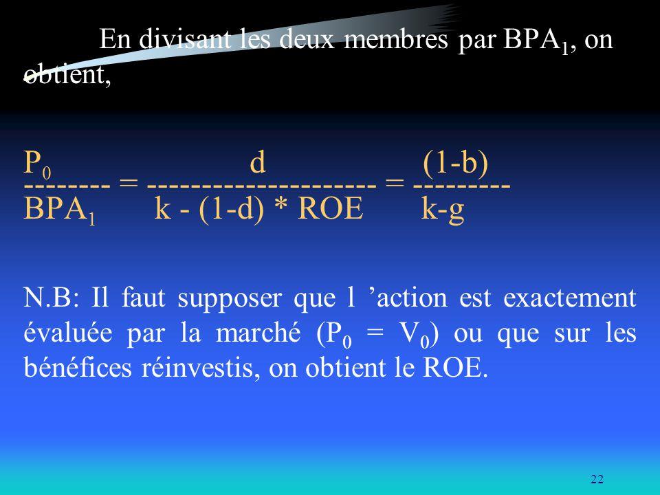 22 En divisant les deux membres par BPA 1, on obtient, P 0 d (1-b) -------- = --------------------- = --------- BPA 1 k - (1-d) * ROE k-g N.B: Il faut