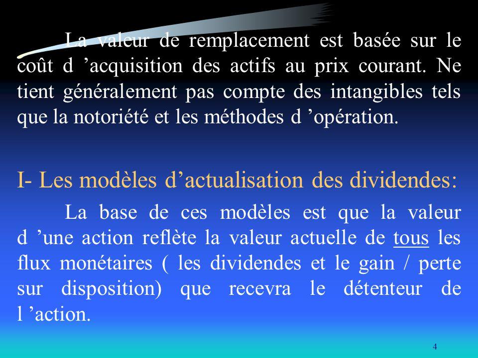 5 A- Le modèle de GORDON: D 1 D 2 D n + P n V 0 = -------- + -------- + ……… +------------ (1+k) (1+k) 2 (1+k) n V 0 = Valeur présente, k = taux d actualisation, D n = dividende au temps n, P n = prix de revente anticipé au temps n.