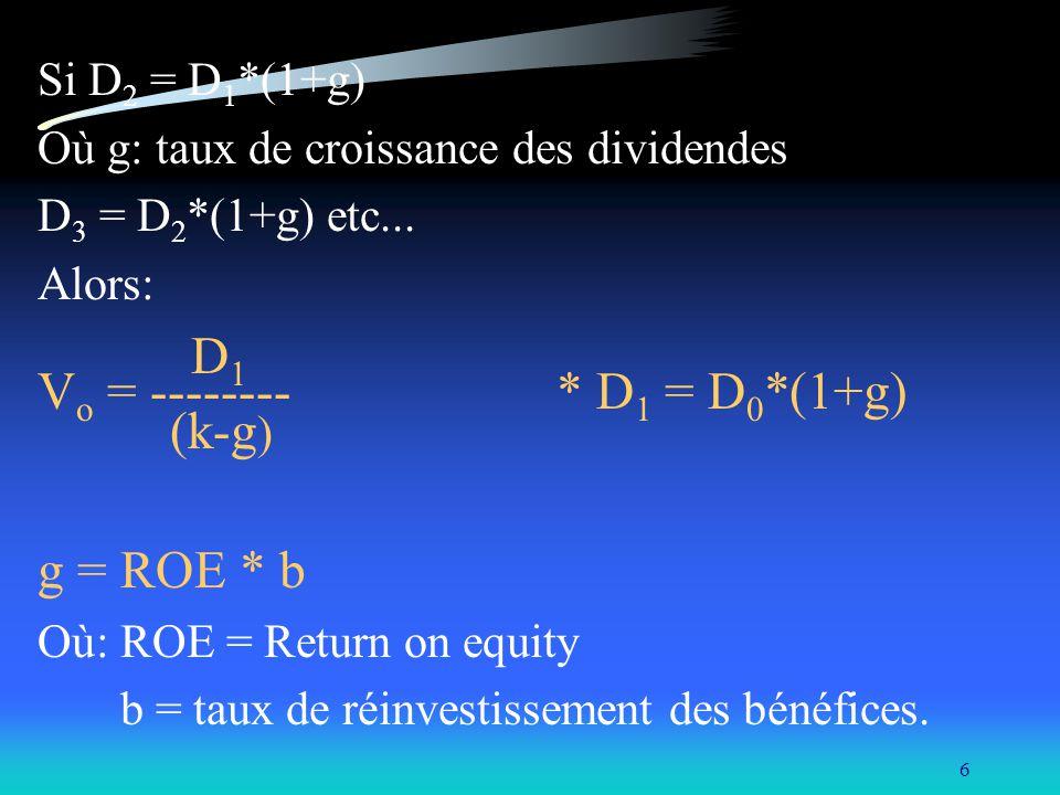 6 Si D 2 = D 1 *(1+g) Où g: taux de croissance des dividendes D 3 = D 2 *(1+g) etc... Alors: D 1 V o = -------- * D 1 = D 0 *(1+g) (k-g ) g = ROE * b