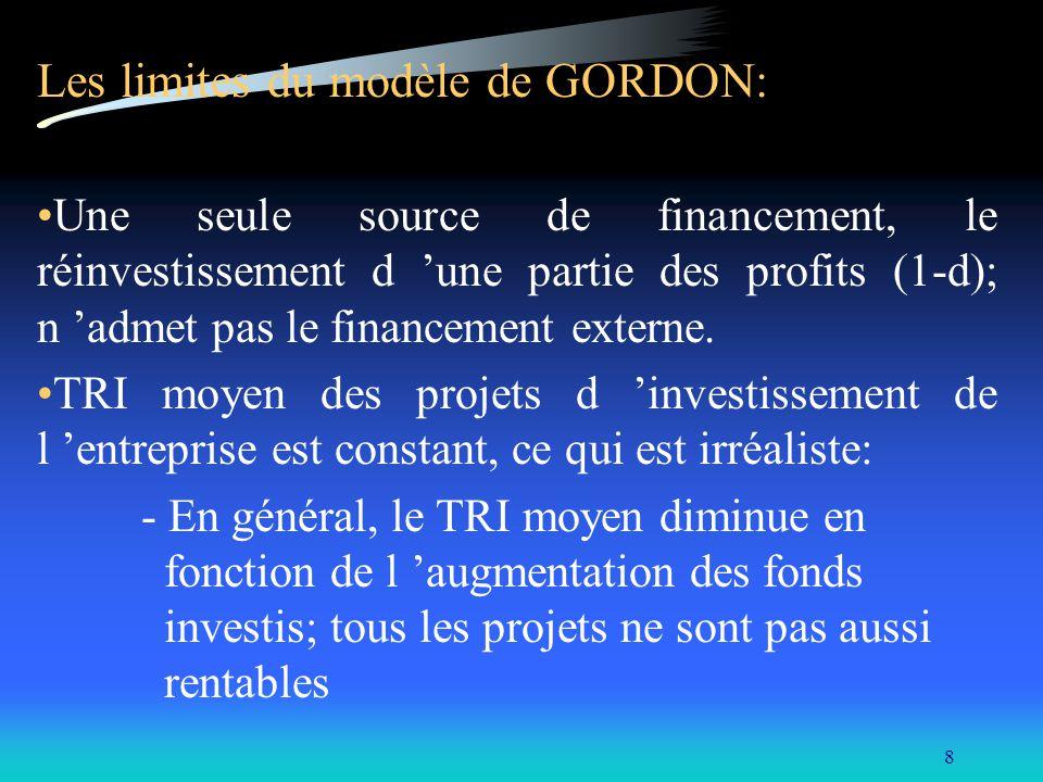 8 Les limites du modèle de GORDON: Une seule source de financement, le réinvestissement d une partie des profits (1-d); n admet pas le financement ext