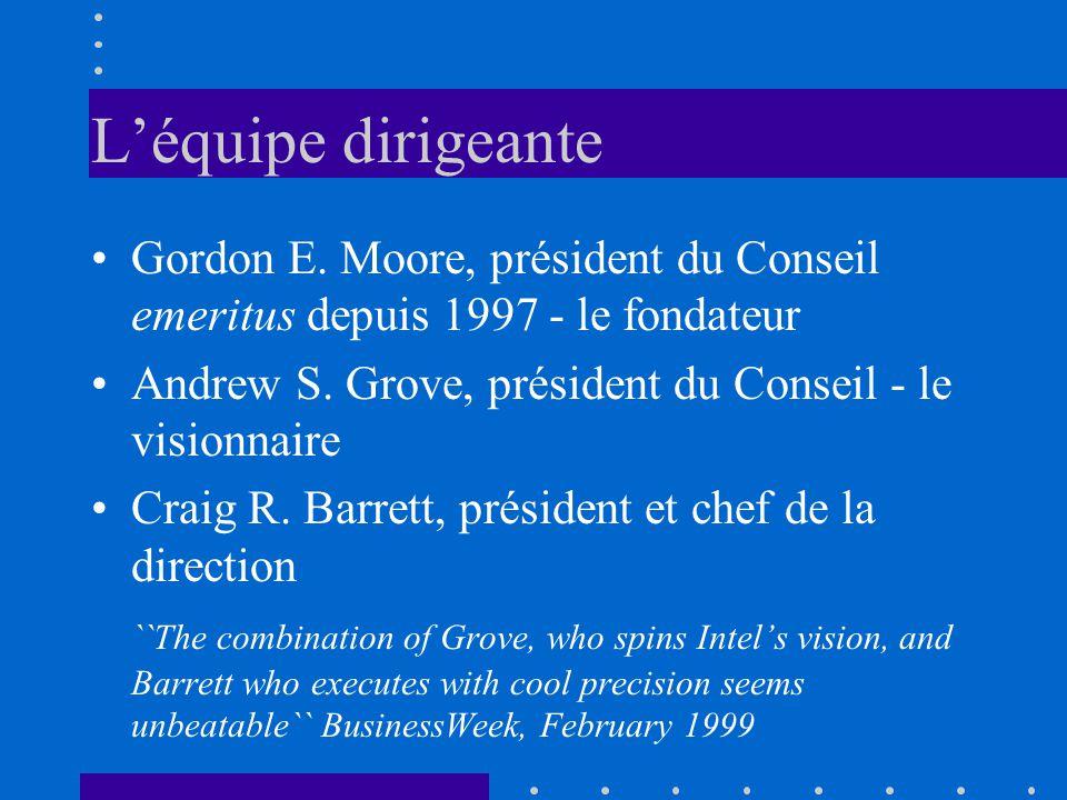 Léquipe dirigeante Gordon E. Moore, président du Conseil emeritus depuis 1997 - le fondateur Andrew S. Grove, président du Conseil - le visionnaire Cr