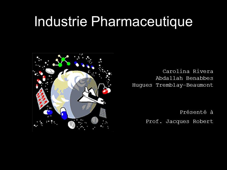 Industrie Pharmaceutique Un chiffre daffaire qui dépasse les 400 milliard s $ Augmentation annuelle de plus de : 15 % Un lien étroit avec la société Pas mal de sou !!.
