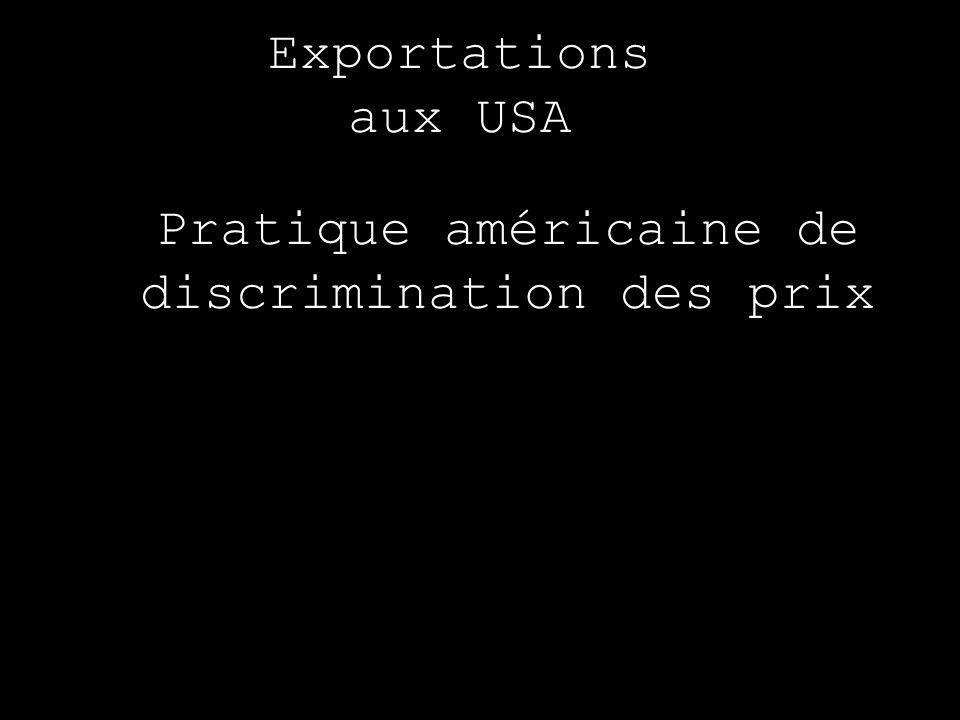 Exportations aux USA Pratique américaine de discrimination des prix