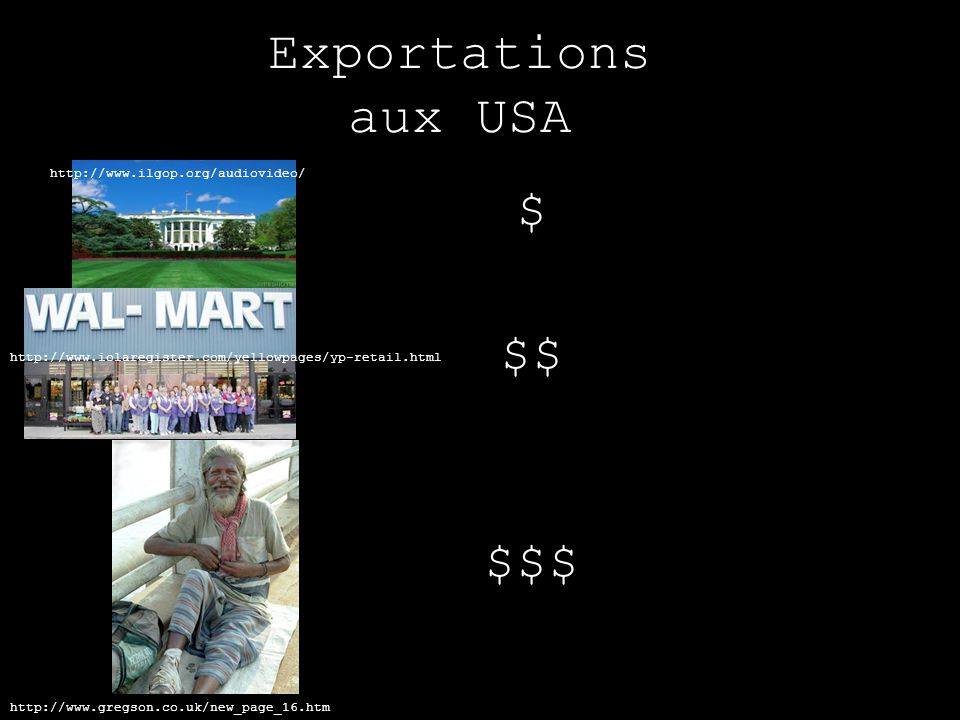 Exportations aux USA http://www.iolaregister.com/yellowpages/yp-retail.html http://www.ilgop.org/audiovideo/ $ $$ http://www.gregson.co.uk/new_page_16