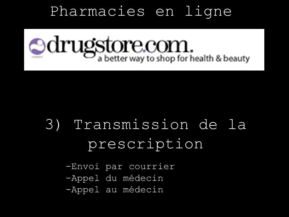 Pharmacies en ligne 3) Transmission de la prescription -Envoi par courrier -Appel du médecin -Appel au médecin