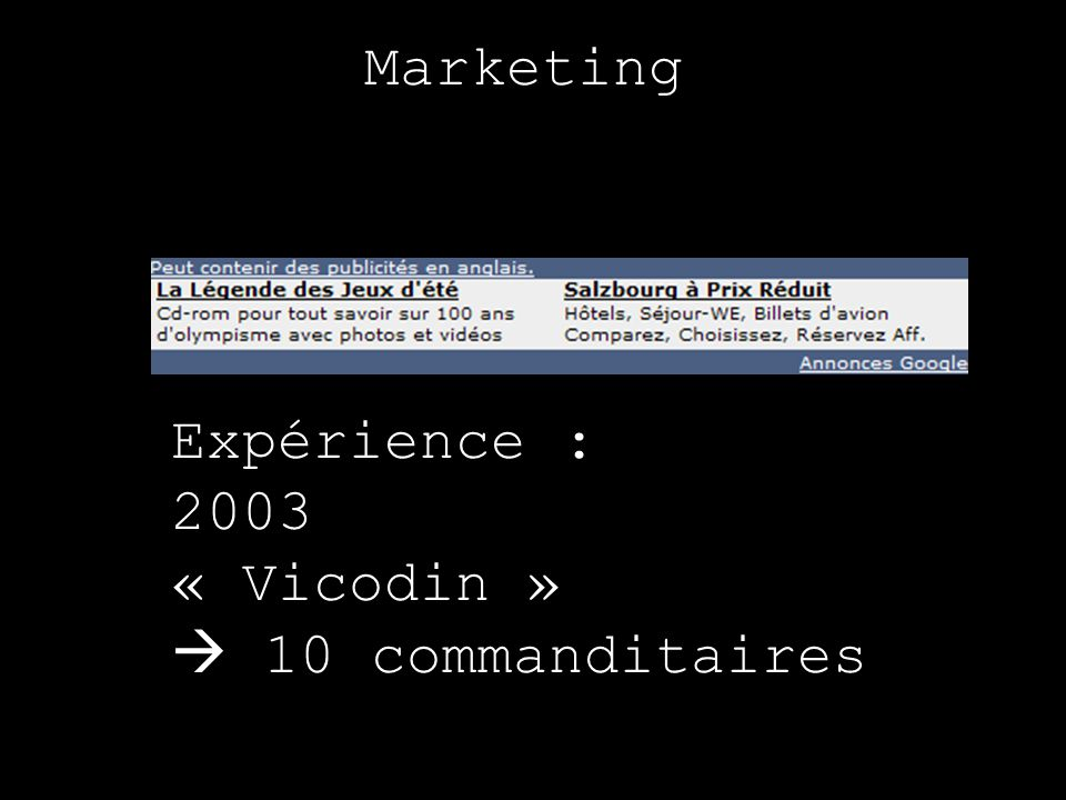 Marketing Expérience : 2003 « Vicodin » 10 commanditaires