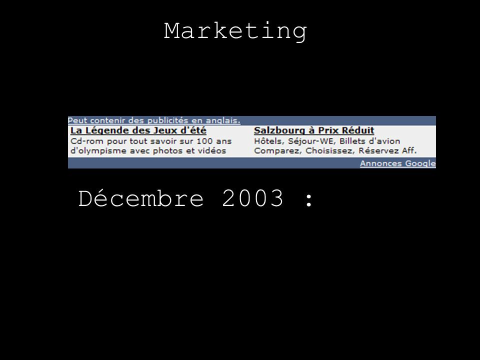 Marketing Décembre 2003 :