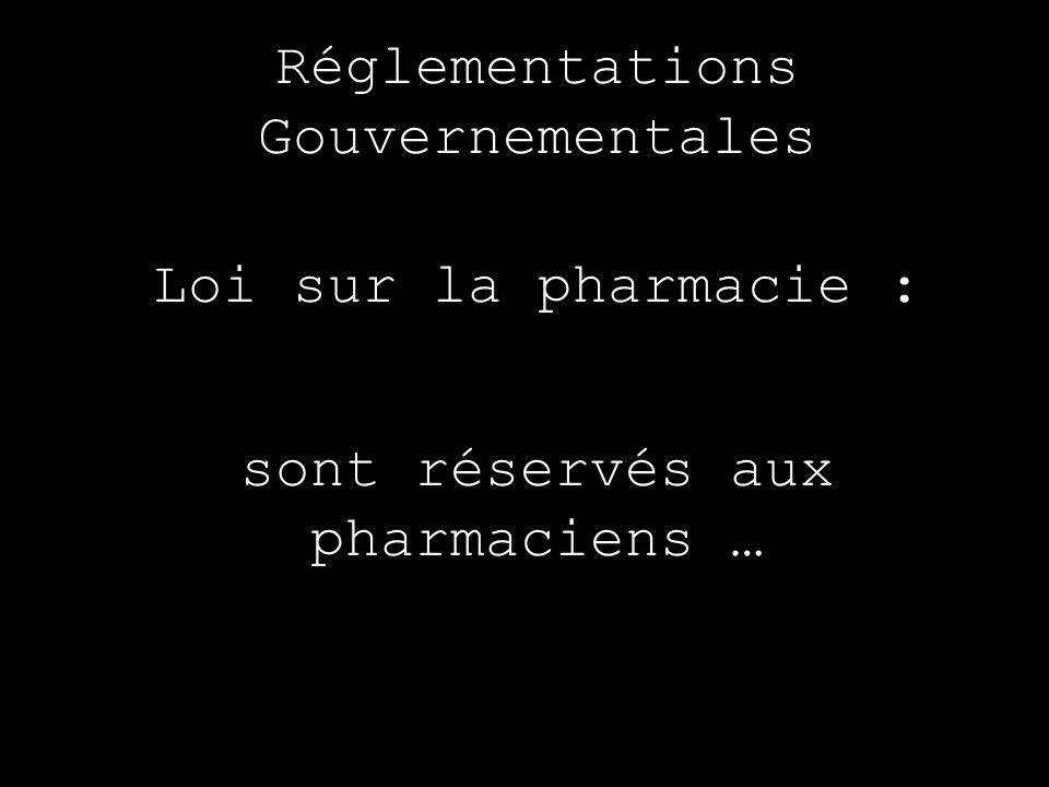 Réglementations Gouvernementales Loi sur la pharmacie : sont réservés aux pharmaciens …